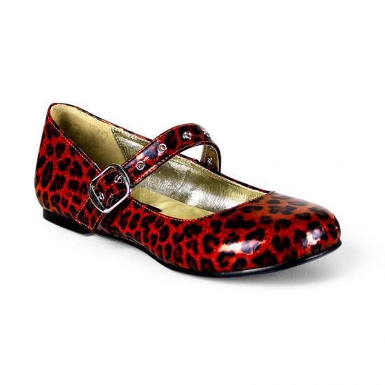 取寄せ靴 新品 きらきらラメ風 人気のアニマル柄 甲ベルト付き フラットぺたんこパンプス 赤レッドグリッターヒョウ柄 Demoniaデモニア 大きいサイズ…