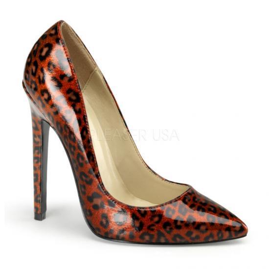 取寄せ靴 新品 ポインテッドトゥ 人気のアニマル柄 ハイヒールパンプス 12.5cmピンヒール 赤レッドヒョウ柄 DEVIOUSデビアス 大きいサイズ…