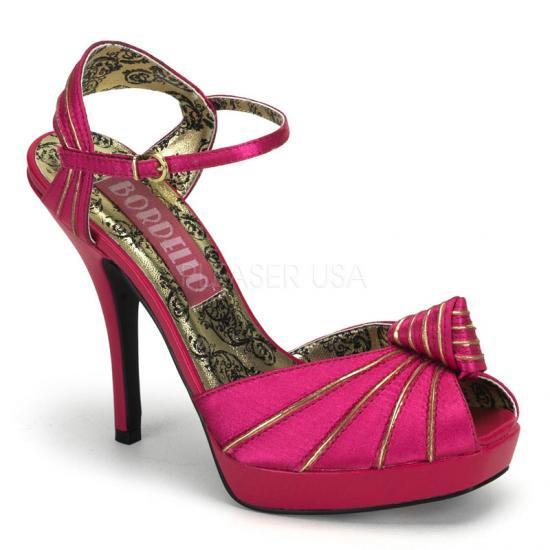 取寄せ靴 新品 衣装靴 アンクルベルト付き 金ゴールドライン入り 薄厚底サンダル 12cmピンヒール 赤紫フューシャサテン BORDELLOボルデロ 大きいサイズ…