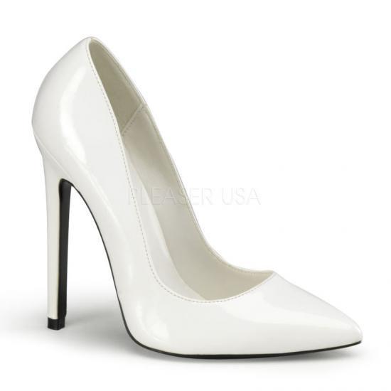 取寄せ靴 新品 ポインテッドトゥ ハイヒールパンプス 12.5cmピンヒール 白ホワイトエナメル DEVIOUSデビアス 大きいサイズ…