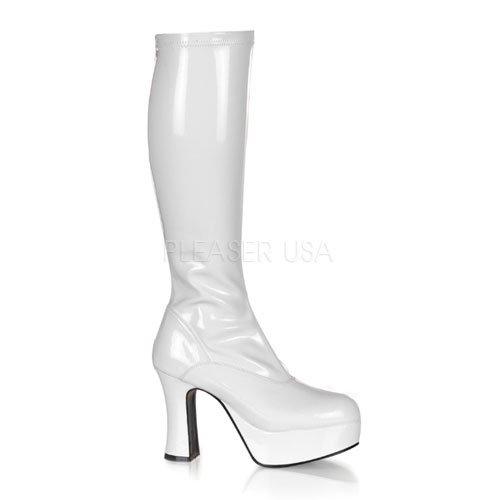 取寄せ靴 新品 コスプレイヤーにも大人気 厚底ロングブーツ サイドジッパー付き 10cmチャンキーヒール 白ホワイトエナメル FUNTAZMAファンタズマ 大きいサイズ…