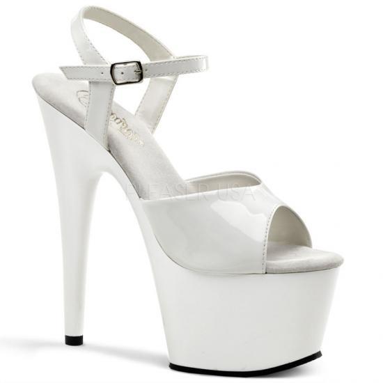 取寄せ靴 新品 ベルト付き 小悪魔系厚底サンダル 17.5cmピンヒール 白ホワイトエナメル Pleaserプリーザー 大きいサイズ…