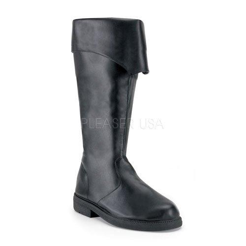 即納靴 2WAY コスプレ系 メンズに大人気 ワイドな筒周り プラスサイズ 薄厚底ロングブーツ サイドジッパー付き 2.5cmヒール 黒ブラックつや消し FUNTAZMAファンタズマ 大きいサイズ…