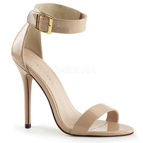 取寄せ靴 新品 アンクルベルト付き フラットぺたんこサンダル 13cmヒール クリームエナメル Pleaserプリーザー 大きいサイズあり