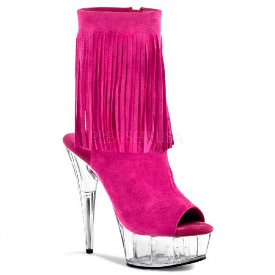 取寄せ靴 送料無料 新品 かかと&つま先オープンタイプ フリンジ付き 厚底ショートブーツ サイドジッパー付き 15cmピンヒール 赤紫フューシャスエード クリア 大きいサイズ…