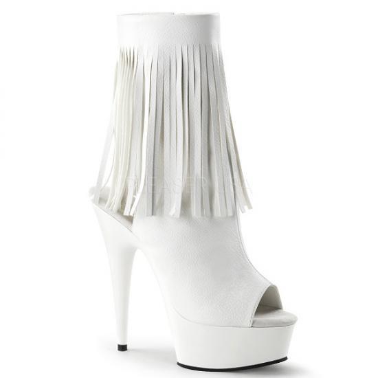取寄せ靴 送料無料 新品 かかと&つま先オープンタイプ フリンジ付き 厚底 ショートブーツ サイドジッパー付き 15cm ピンヒール 白 ホワイト つや消し 大きいサイズ…