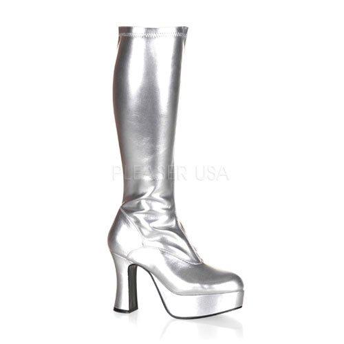 取寄せ靴 新品 コスプレイヤーにも大人気 厚底ロングブーツ サイドジッパー付き 10cmチャンキーヒール 銀シルバー FUNTAZMAファンタズマ 大きいサイズあり