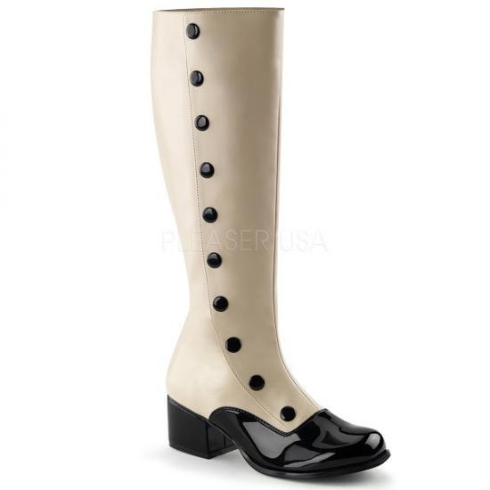 取寄せ靴 コスプレイヤーにも大人気 フェイクボタン つま先部分がエナメル 薄厚底 ロングブーツ 5cm チャンキーヒール クリーム つや消し 黒 ブラック 大きいサイズ…