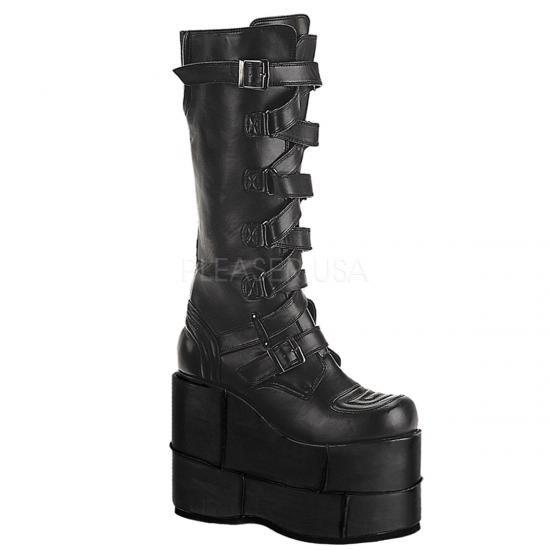 取寄せ靴 メンズ ウェッジソール 厚底 ブーツ ベルト付 シューズ 17.5cm厚底 黒 ブラック つや消し合皮 フェイクレザー 大きいサイズあり ゴスロリ パンク 原宿 Demonia デモ…