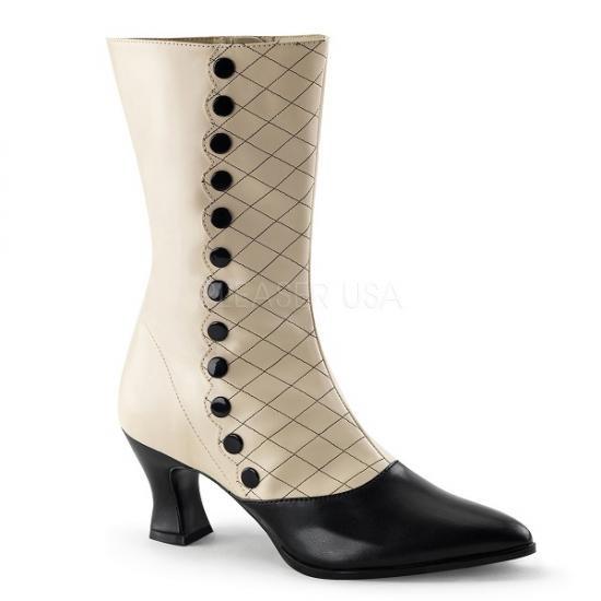取寄せ靴 ポインテッドトゥ サイドにフェイクボタンデザイン バイカラー ハイヒールショートブーツ サイドジッパー付き 7cmチャンキーヒール クリーム黒ブラックつや消し合皮 大きいサイズ…