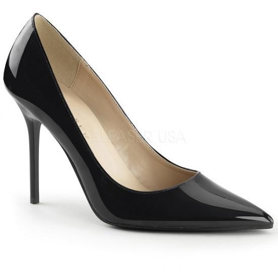 即納靴 エレガントなポインテッドトゥ 美脚ハイヒールパンプス 10cmヒール 黒ブラックエナメル Pleaserプリーザー 大きいサイズあり 豊富なカラーバリエーシ…