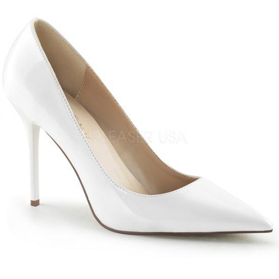 即納靴 エレガントなポインテッドトゥ 美脚ハイヒールパンプス 10cmヒール 白ホワイトエナメル Pleaserプリーザー 大きいサイズあり 豊富なカラーバリエーシ…