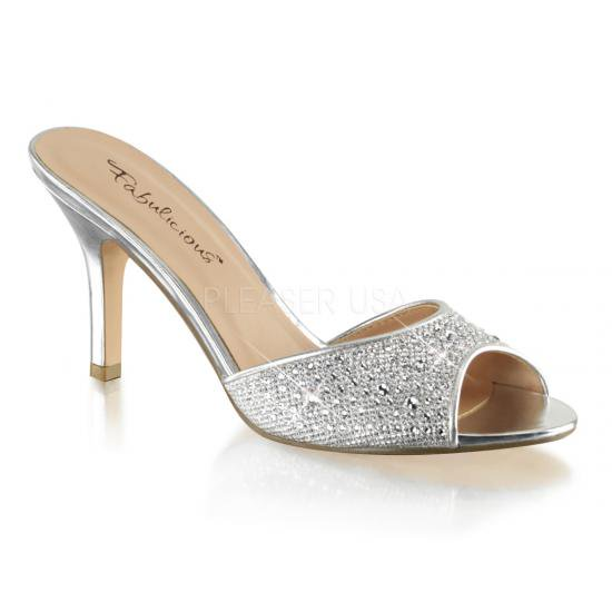 取寄せ靴 新品 きらきらラインストーン付き 薄厚底ミュールサンダル 8.5cmヒール 銀 シルバー グリッター メッシュ Pleaserプリーザー 大きいサイズ…