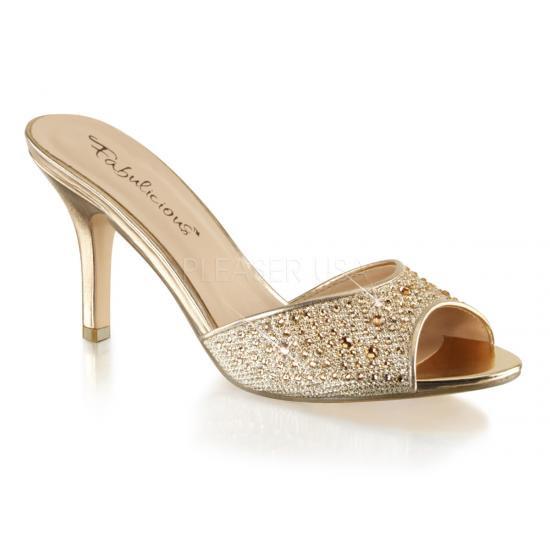 取寄せ靴 新品 きらきらラインストーン付き 薄厚底ミュールサンダル 8.5cmヒール 金 ゴールド グリッター メッシュ Pleaserプリーザー 大きいサイズ…