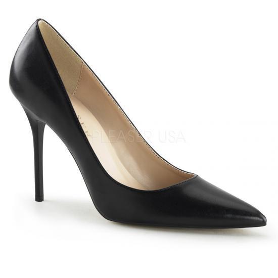 即納靴 エレガントなポインテッドトゥ 美脚ハイヒールパンプス 10cmヒール 黒ブラックつや消し合皮 Pleaserプリーザー 大きいサイズあり 豊富なカラーバリエーシ…