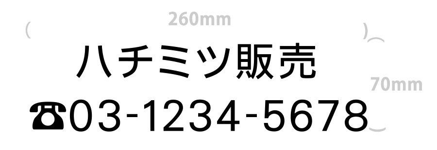 切り文字-社名6文字+電話番号(文字サイズ3cm)|260mm×70mm