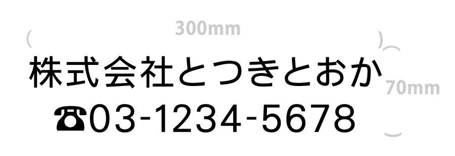 切り文字-社名10文字+電話番号(文字サイズ3cm)|300mm×70mm