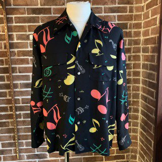 <img class='new_mark_img1' src='https://img.shop-pro.jp/img/new/icons11.gif' style='border:none;display:inline;margin:0px;padding:0px;width:auto;' />Vintage Atomic Style Box Shirt Musical Note/Black