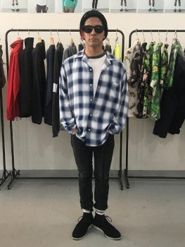 <img class='new_mark_img1' src='https://img.shop-pro.jp/img/new/icons13.gif' style='border:none;display:inline;margin:0px;padding:0px;width:auto;' />【ROTTWEILER】Rayon Check Open Collar LS Shirt/ブルー
