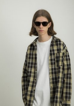 <img class='new_mark_img1' src='https://img.shop-pro.jp/img/new/icons13.gif' style='border:none;display:inline;margin:0px;padding:0px;width:auto;' />【WHITE LINE】WL Cotton Henp Check Shirt/ブラック