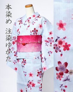 17406LB 綿麻水色地桜柄×桜七宝帯<img class='new_mark_img2' src='https://img.shop-pro.jp/img/new/icons61.gif' style='border:none;display:inline;margin:0px;padding:0px;width:auto;' />