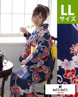 ◆17305NV 紺地唐花柄LL×黄桐麻帯<img class='new_mark_img2' src='https://img.shop-pro.jp/img/new/icons61.gif' style='border:none;display:inline;margin:0px;padding:0px;width:auto;' />