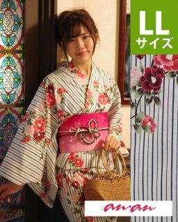 ◆17303WH 白地縞に椿柄LL×ピンク椿帯