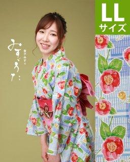 ◆18211WH 白地市松に椿柄LL×ピンク立矢帯