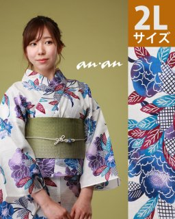 ◆18203WH 白地紅型青ぼたん柄2L×グリーン三重太鼓帯<img class='new_mark_img2' src='https://img.shop-pro.jp/img/new/icons5.gif' style='border:none;display:inline;margin:0px;padding:0px;width:auto;' />