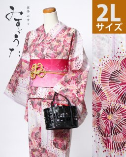 ◆18209WH 白地縞に赤花柄2L×赤桐麻に桜帯<img class='new_mark_img2' src='https://img.shop-pro.jp/img/new/icons5.gif' style='border:none;display:inline;margin:0px;padding:0px;width:auto;' />