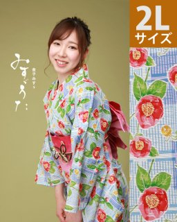 ◆18211WH 白地市松に椿柄2L×ピンク立矢帯<img class='new_mark_img2' src='https://img.shop-pro.jp/img/new/icons61.gif' style='border:none;display:inline;margin:0px;padding:0px;width:auto;' />