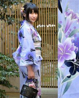18205PR 淡い紫地ゆり柄×紫博多ロマン帯