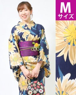 ◆19015NV 濃紺地野菊柄M×紫小花帯<img class='new_mark_img2' src='https://img.shop-pro.jp/img/new/icons5.gif' style='border:none;display:inline;margin:0px;padding:0px;width:auto;' />