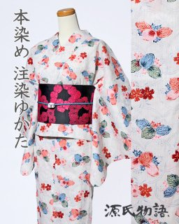 21206CR 綿麻クリーム地露芝に桜と桐柄×黒ピンク花帯<img class='new_mark_img2' src='https://img.shop-pro.jp/img/new/icons5.gif' style='border:none;display:inline;margin:0px;padding:0px;width:auto;' />