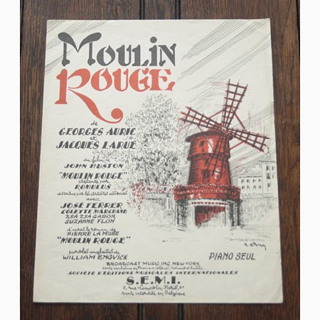 アンティーク楽譜: 《ムーラン・ルージュの歌》 G.オーリック