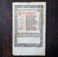 時祷書 11月暦 木版印刷 1519年 ドイツ 一葉