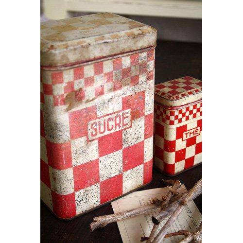 アンティーク ティン缶 市松模様 Sucre B