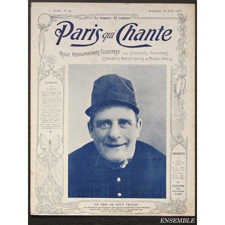 アンティーク楽譜: 音楽雑誌 《歌うパリ》 1903年8月30日号