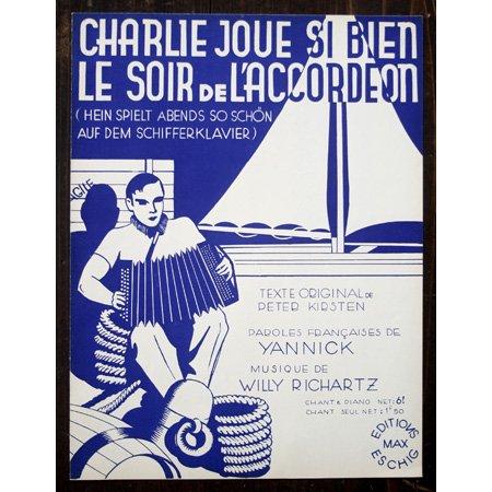 アンティーク楽譜:《Charlie joue si bien le soir de l'Accordeon》