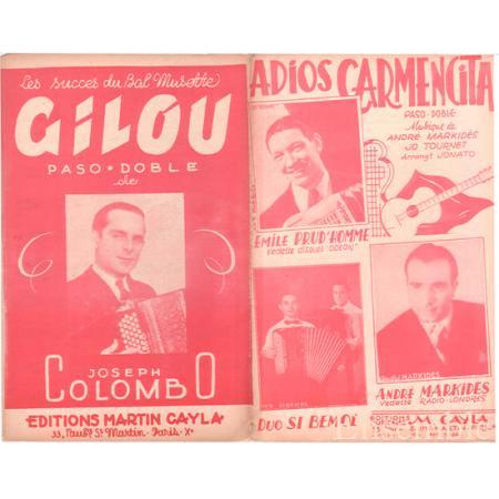 コロンボ,ジョゼフ 《Adios Carmencita / Gilou 》 パソドブレ
