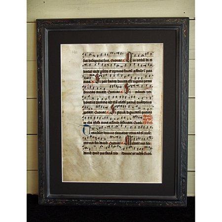 """""""15世紀 グレゴリオ聖歌 手書き写本 羊皮紙 """" 一葉 G"""