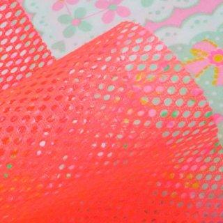 型紙「ミエルポーチ」 専用 ポリエステルメッシュ生地 蛍光ピンク 約25×30cm カット済み (型紙別売り)