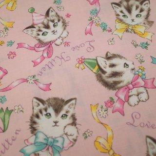 セレクト生地 Little Kittens (ピンク)  約50cm×110cm カット済み