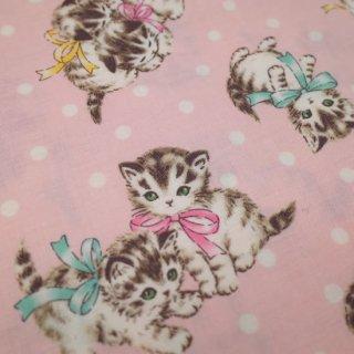セレクト生地  Kittens Dot (ピンク)  約50cm×110cm カット済み