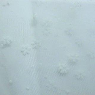 セレクト生地 0667 ホワイトフラワーホワイトチュール 50×90