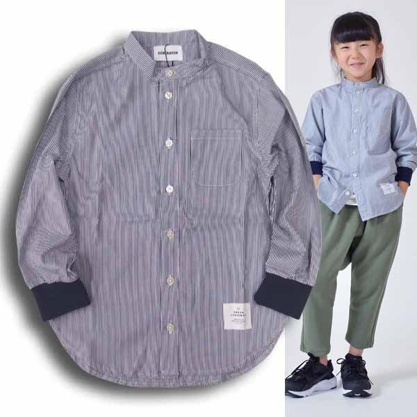 generator ジェネレーター082103【お値打ち】袖リブで使い勝手の良いストライプノーカラーシャツ