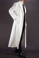 ホワイトカラーロングコート、シングルトレンチコートスタイル