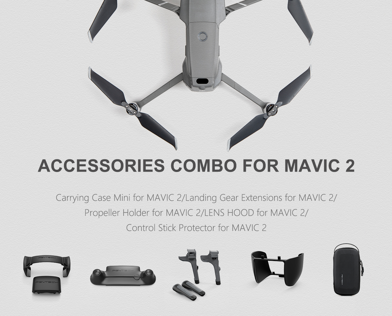 accessories combo for mavic 2 - Carrying Case Mini for MAVIC 2/Landing Gear Extensions for MAVIC 2/ Propeller Holder for MAVIC 2/LENS HOOD for MAVIC 2/ Control Stick Protector for MAVIC 2