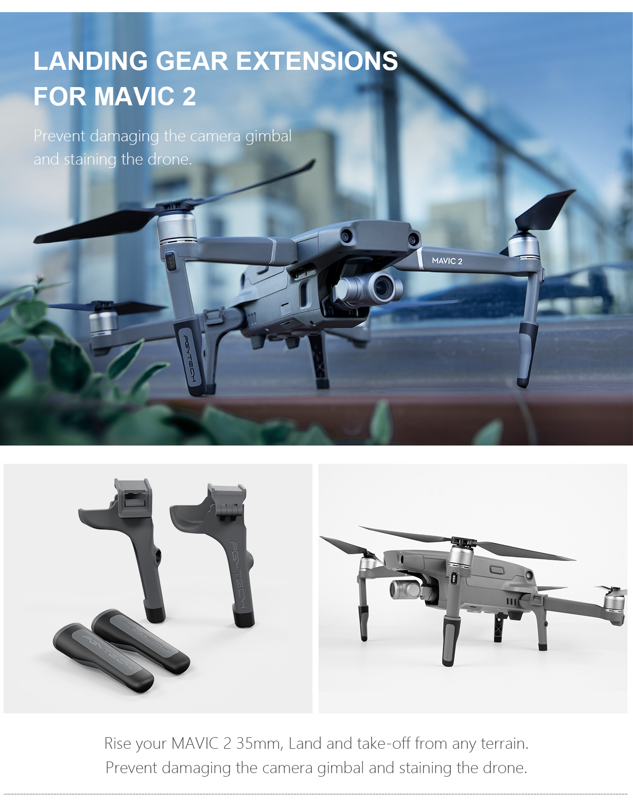 LANDING GEAR EXTENSIONS FOR MAVIC 2 - Prevent damaging the camera gimbal and staining the drone.