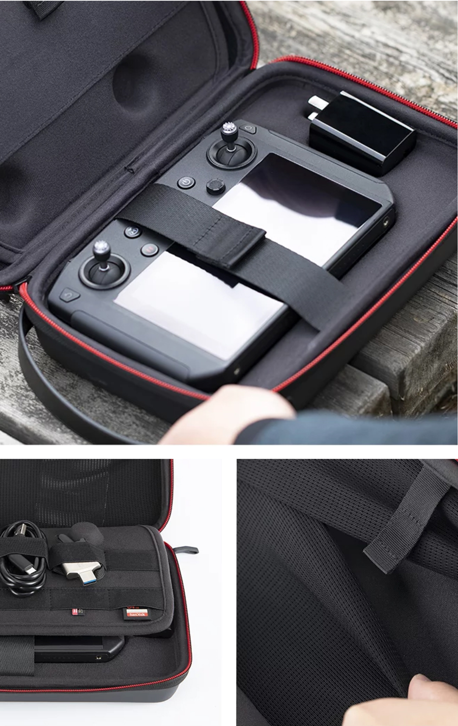 The case has a clear storage space planning with customizable space <br> which can hold the Mavic 2 Smart Controller, a charger, USB cables, <br> SD cards, and other peripheral accessories.